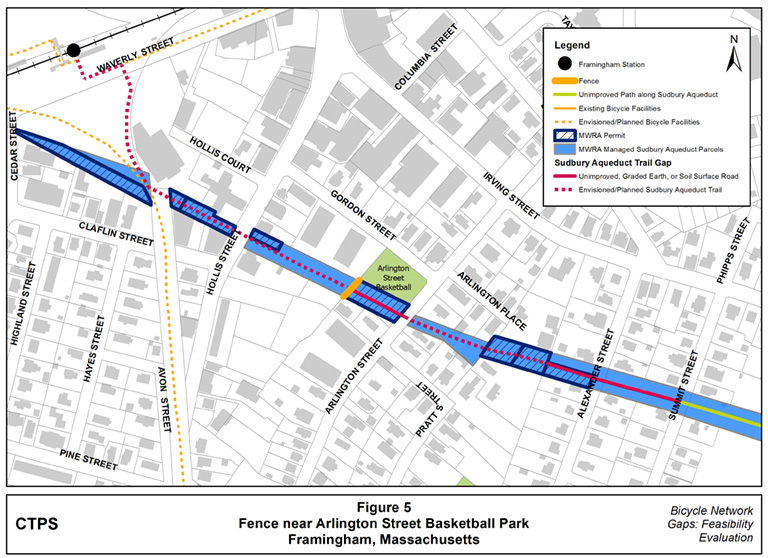 Figure 5 – Map illustrating where a fence is located near the Arlington Street Basketball Park, atop the Sudbury Aqueduct and blocking the proposed route of the aqueduct trail for bicyclists and pedestrians.