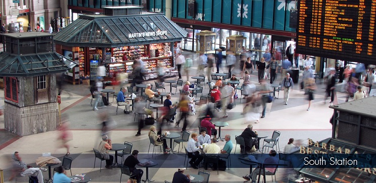 Boston South Station waiting crowd