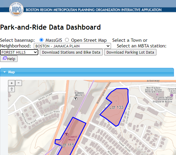 A screenshot of the Park-and-Ride dashboard.