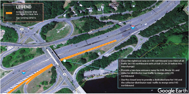 An overhead photograph of existing conditions at I-95 northbound and the I-90 interchange with illustration of recommendations by MPO staff.
