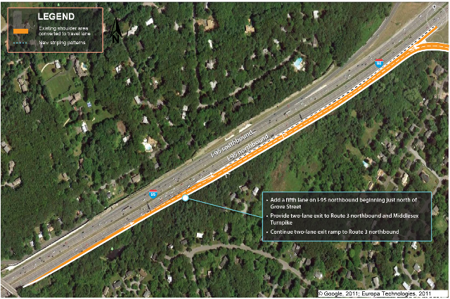 An overhead photograph of existing conditions on I-95 at Route 3 and the Middlesex Turnpike in Burlington with illustration of recommendations by MPO staff.