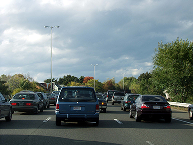 A photo of cars in traffic on Route 1.