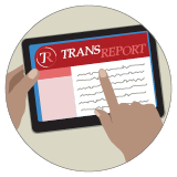 A graphic of a hand holding an e-reader tablet and pointing to an issue of Transreport on the screen.