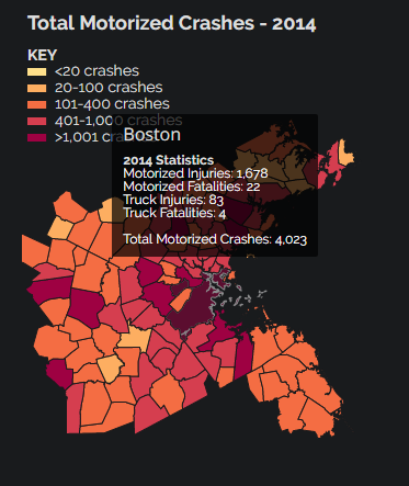 A graphic showing motorized crashes in Boston in 2014.